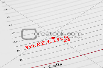 An entry in the diary of the meeting