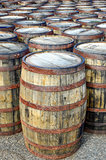Stack of whisky casks and barrels