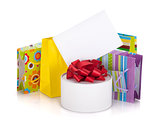 Colored gift bags, box and greeting card