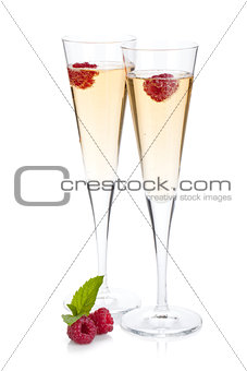 Champagne with raspberry