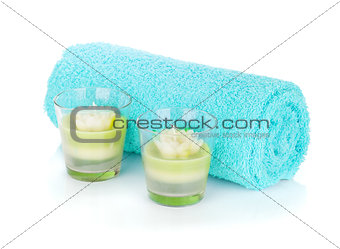 Bathroom towel and candles