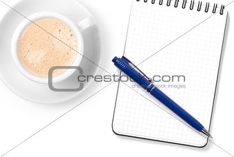 Blank organizer with pen and cappuccino cup