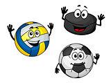 Hockey puck, volleyball and soccer balls