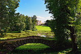 Summer landscape of the Pavlovsk garden, Russia. View to the pal