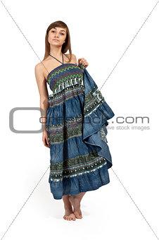 beautiful girl in jeans sarafan