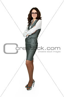 business woman in a gray suit