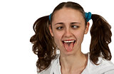 girl with pigtails shows the language