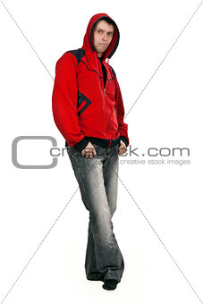 man in a red sweater with a hood