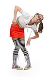 girl in striped socks