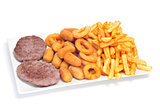 spanish combo platter with burgers, croquettes, calamares and fr