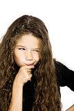 Little girl portrait pucker mistrust thinking