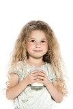 Little girl portrait with milk mustache
