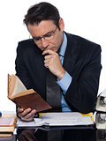 Man businessman teacher   reading