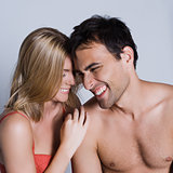 young couple portrait  laughing