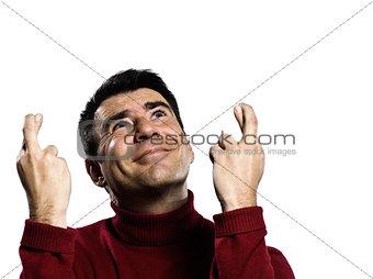 caucasian man finger crossed