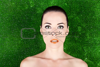 Portrait of a beautiful woman with green eyes