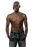 Happy shirtless fit Afro American mature man