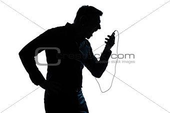 silhouette man portrait telephone videophone