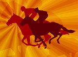 jockeys riding horses on the abstract background
