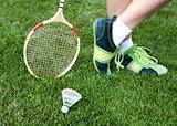 foot of badminton player