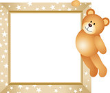 Teddy Bear Hanging in the Frame