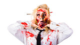 Crazy zombie business woman in struggle