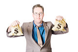 Man holding money bags on white background