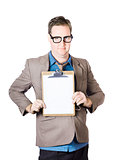 Businessman conducting survey with clipboard
