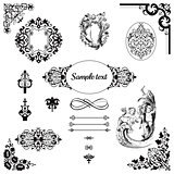 Vintage pattern and  frame set vector graphic in baroque style