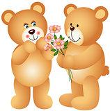 Teddy Bear Offering Flowers