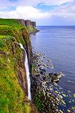 Kilt rock coastline cliff in Scottish highlands