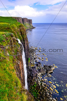 Kilt rock coastline cliff in Scottish highlands