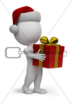 3d small people - Santa with a gift
