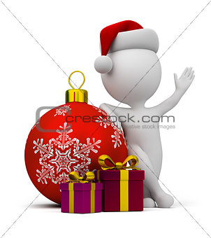 3d small people - Santa with gifts and a Christmas ball