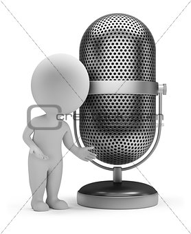 3d small people - retro microphone