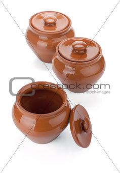 Three clay pots