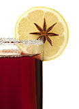 Mulled wine with lemon slice and anise