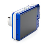 Blue compact camera. Rear view