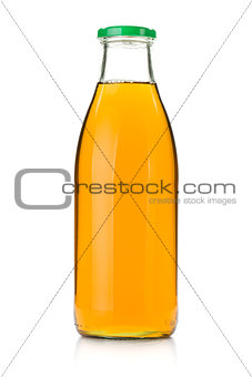 Apple juice in a glass bottle
