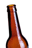 Empty beer bottle closeup