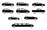 Silhouettes of different body car types
