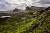 Landscape view of Quiraing mountains in Isle of Skye, Scottish h