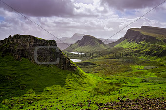 Landscape view of Quiraing mountains on Isle of Skye, Scottish h