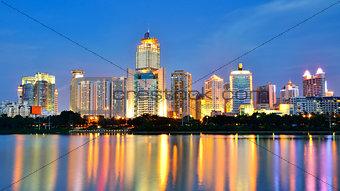 Beautiful night scenery of Nanhu Park