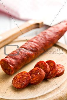 sliced tasty chorizo sausage