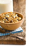 muesli in wooden bowl