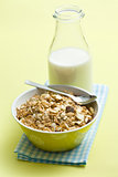 muesli in ceramic bowl and milk