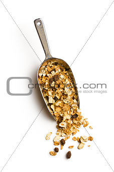 crunchy muesli in scoop
