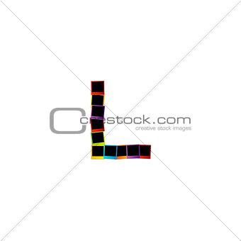 Alphabet L with colorful polaroids