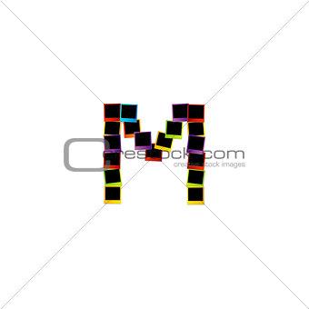 Alphabet M with colorful polaroids